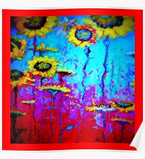 SURREAL SUNFLOWER FIELD IN MOONLIGHT Poster
