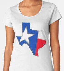 Texas Map with Texas State Flag Women's Premium T-Shirt