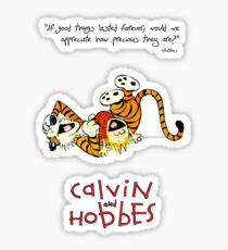 Calvin and Hobbes Laughing on the Floor Sticker