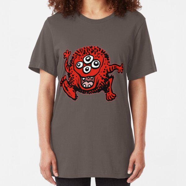 Cute Cartoon Red Monster by Cheerful Madness!! Slim Fit T-Shirt