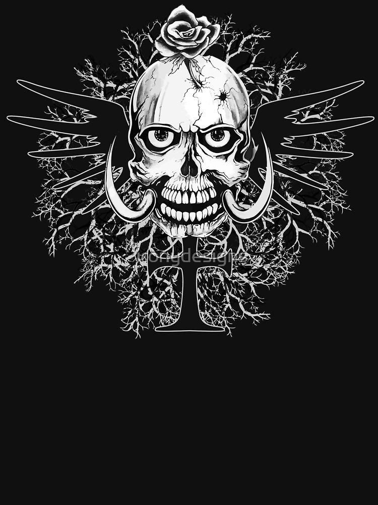 Skull With Rose Cross Illustration by ironydesigns