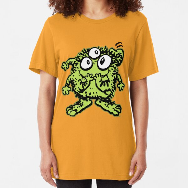 Cute Cartoon Green Monster by Cheerful Madness!! Slim Fit T-Shirt
