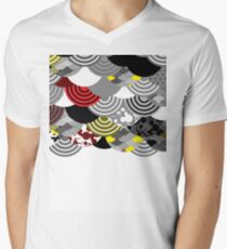 fish scales simple Nature background with japanese sakura flower, Cherry, wave circle Black gray white Red Yellow Men's V-Neck T-Shirt