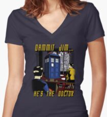 Dammit Jim Women's Fitted V-Neck T-Shirt