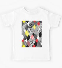 scales simple Nature background with japanese sakura flower, Cherry, wave circle Black gray white Red Yellow Kids Tee