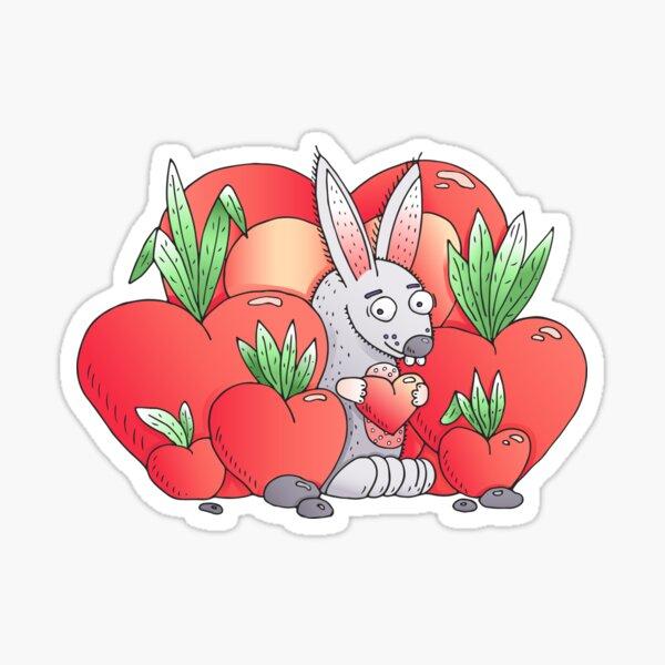 Unique hand drawn Valentine's funny bunny Sticker