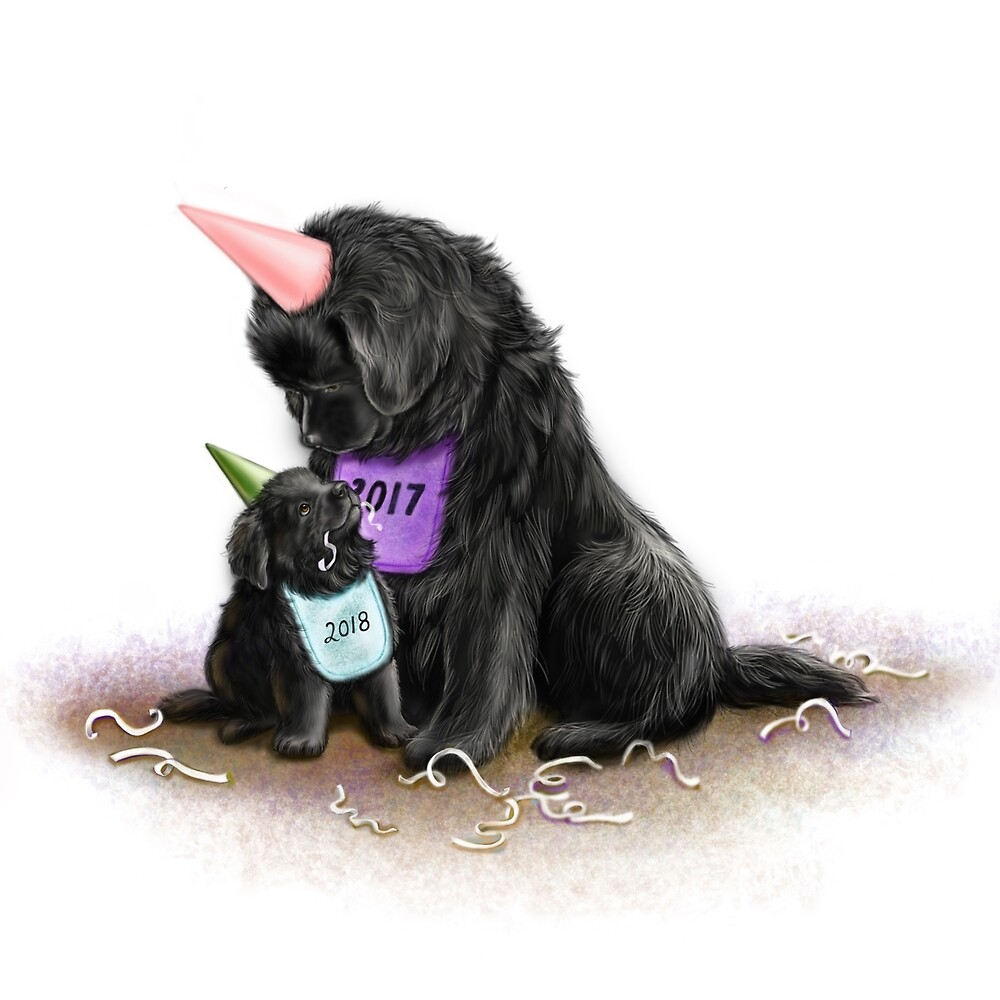 Quot New Years Newfies Quot By Patricia Reeder Eubank Redbubble