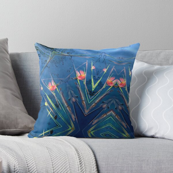 Pond with red leaves Throw Pillow