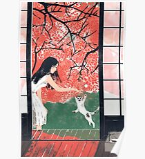 Playing with cat under cherry blossom Poster