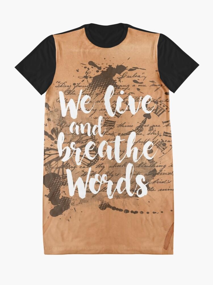 Vista alternativa de Vestido camiseta We live and breathe words