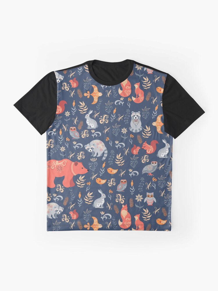 Alternate view of Fairy-tale forest. Fox, bear, raccoon, owls, rabbits, flowers and herbs on a blue background. Graphic T-Shirt