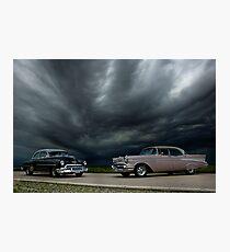 '54 Chevy Deluxe & '56 Bel Air Custom Photographic Print