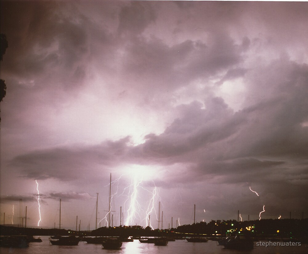 Lightning over Lake Macquarie NSW Australia by stephenwaters