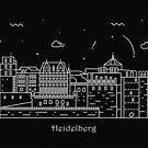 Heidelberg Skyline Minimal Line Art Poster by A Deniz Akerman