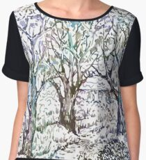 Winter garden with trees. Chiffon Top
