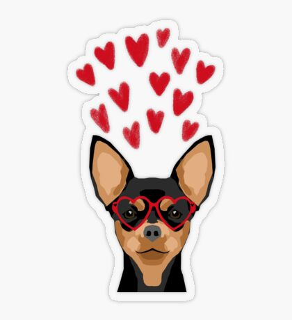 Chihuahua black and tan valentines day love hearts dog breed gifts cute chiwawa glasses Transparent Sticker