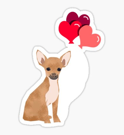 Chihuahua valentines day love hearts dog breed gifts cute chiwawa balloons pure breed Sticker