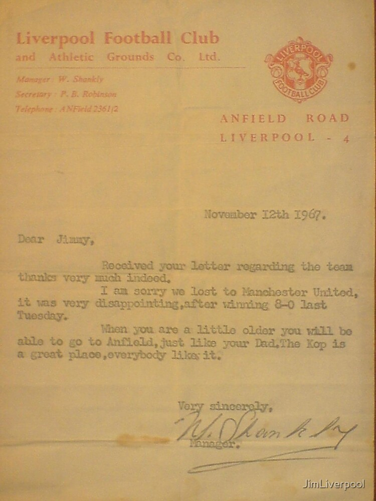 Mr Shankly's letter by JimLiverpool