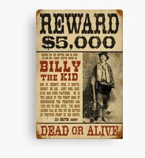 Billy The Kid Mug Shot Wanted Poster Mugshot West Cowboy Vintage  Canvas Print
