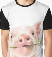 Cute Baby Pig with Daisy Flower Graphic T-Shirt