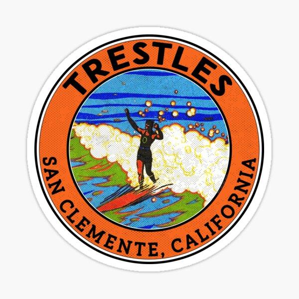 Surfing The Trestles San Clemente California Sticker