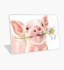 Cute Baby Pig with Daisy Flower Laptop Skin