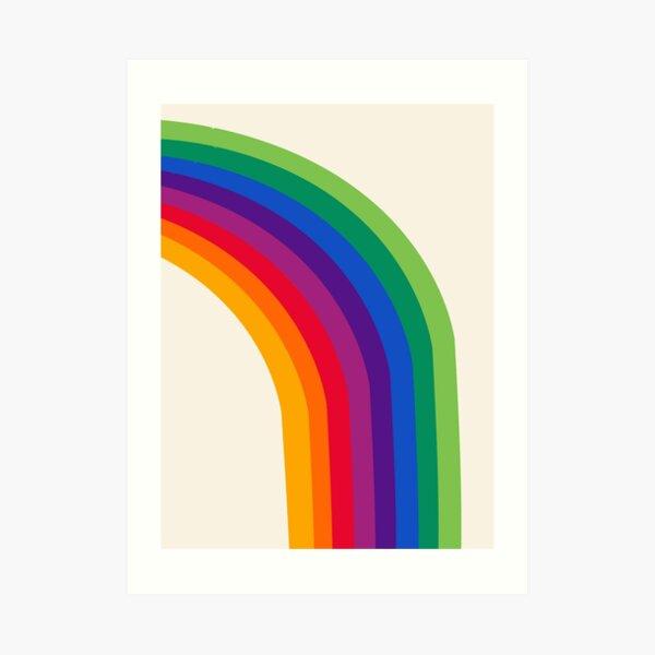 Groovy - rainbow 70s 1970s style retro throwback minimal happy hippie art decor Art Print