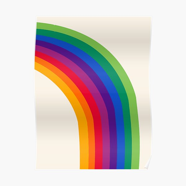Groovy - rainbow 70s 1970s style retro throwback minimal happy hippie art decor Poster