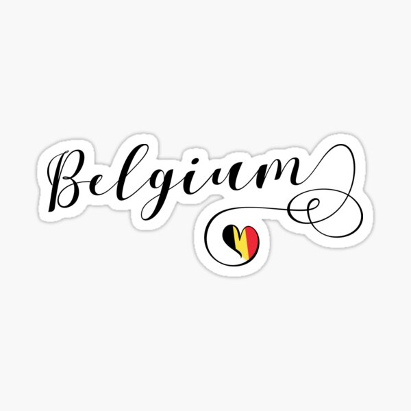 Heart Belgium Sticker, Belgian Flag, Belgian Sticker, Belgium Mug Sticker