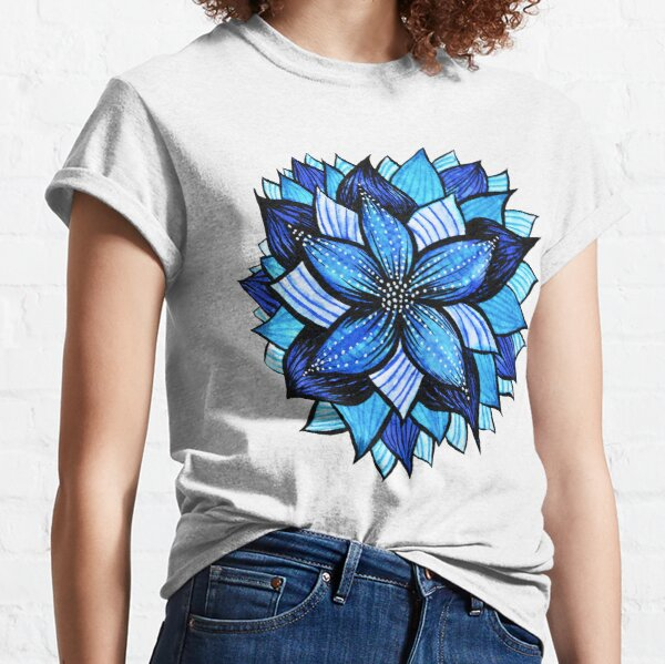 Abstract Blue Flower With White Dots Classic T-Shirt