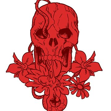 TATTO SKULL IN THE FLOWERS by Altairicco