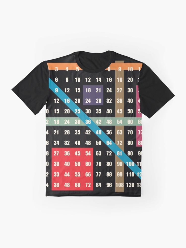 Alternate view of multiplication / times table on black Graphic T-Shirt