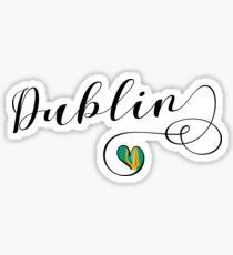 Heart Dublin, Dublin Flag, I Love Dublin, Ireland Sticker