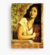 Jesus Helguera Painting of a Mexican Calendar Girl at Window  Canvas Print