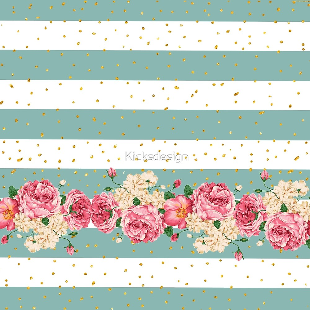 Vintage flowers gold faux glitter dots stripes  by Maria Fernandes