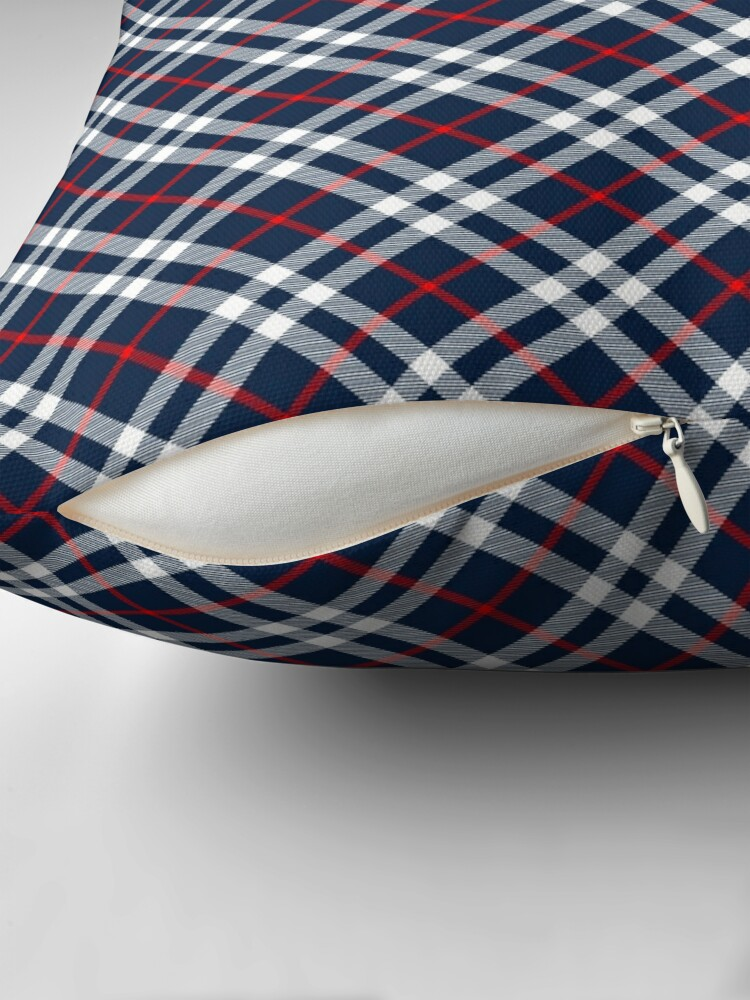 Alternate view of Red White and Blue Tartan Throw Pillow