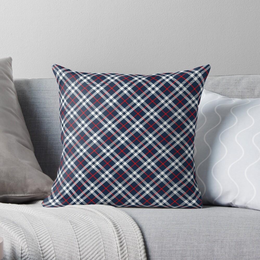 Red White and Blue Tartan Throw Pillow
