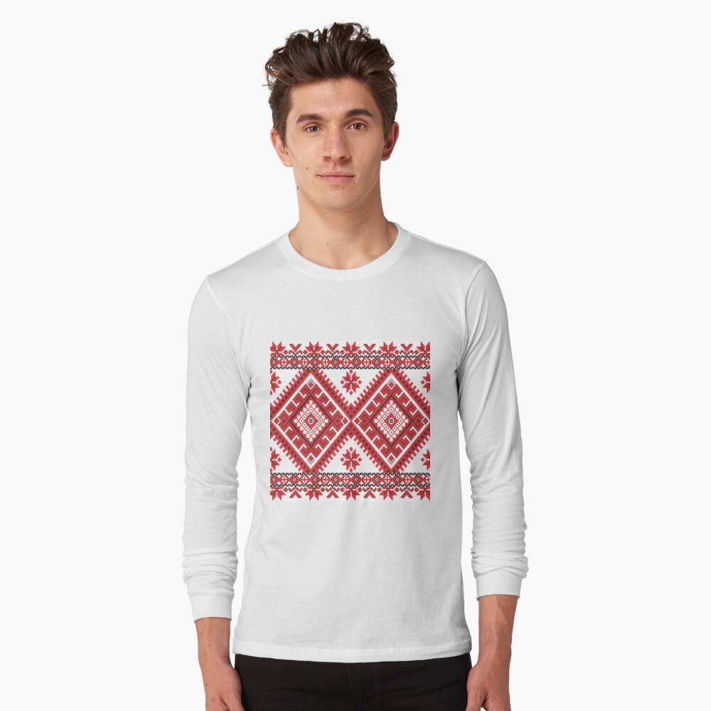 Ukraine Pattern - Ukrainian embroidery: вишивка, vyshyvka, #Ukraine #Pattern #Ukrainian #embroidery #вишивка #vyshyvka UkrainePattern #UkrainianEmbroidery #Украина Long Sleeve T-Shirt