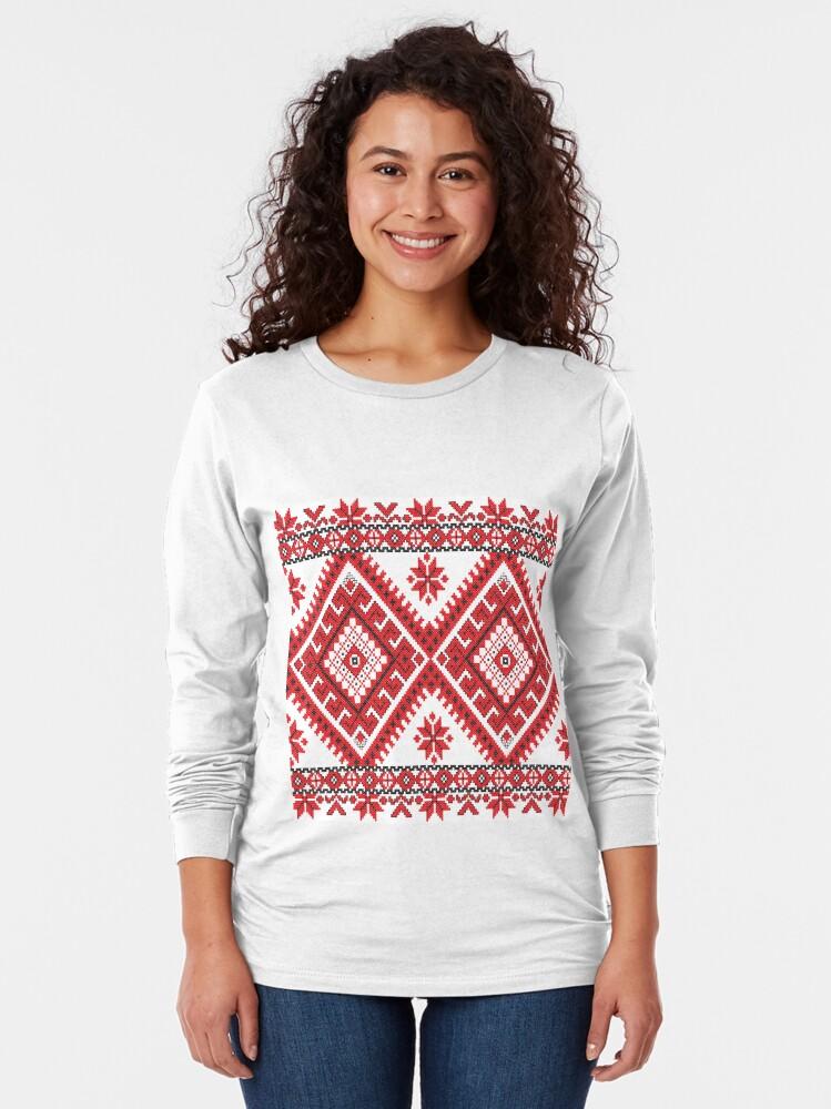 Alternate view of Ukraine Pattern - Ukrainian embroidery: вишивка, vyshyvka, #Ukraine #Pattern #Ukrainian #embroidery #вишивка #vyshyvka UkrainePattern #UkrainianEmbroidery #Украина Long Sleeve T-Shirt