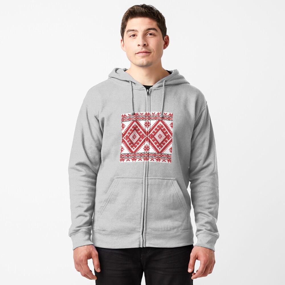 Ukraine Pattern - Ukrainian embroidery: вишивка, vyshyvka, #Ukraine #Pattern #Ukrainian #embroidery #вишивка #vyshyvka UkrainePattern #UkrainianEmbroidery #Украина Zipped Hoodie