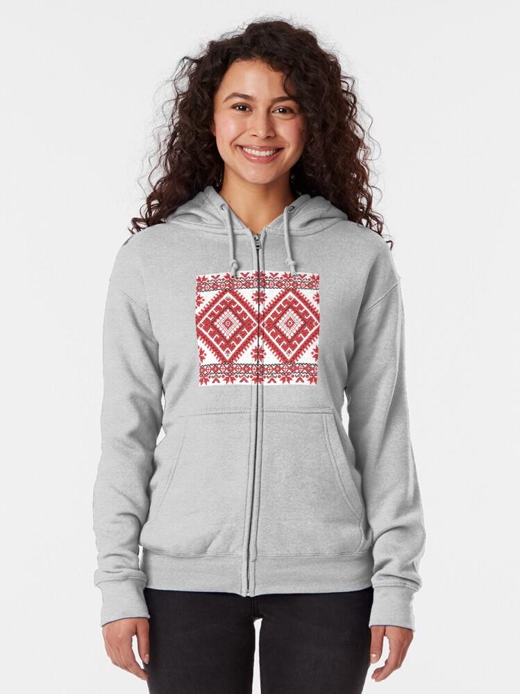 Alternate view of Ukraine Pattern - Ukrainian embroidery: вишивка, vyshyvka, #Ukraine #Pattern #Ukrainian #embroidery #вишивка #vyshyvka UkrainePattern #UkrainianEmbroidery #Украина Zipped Hoodie