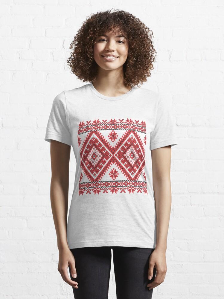 Alternate view of Ukraine Pattern - Ukrainian embroidery: вишивка, vyshyvka, #Ukraine #Pattern #Ukrainian #embroidery #вишивка #vyshyvka UkrainePattern #UkrainianEmbroidery #Украина Essential T-Shirt