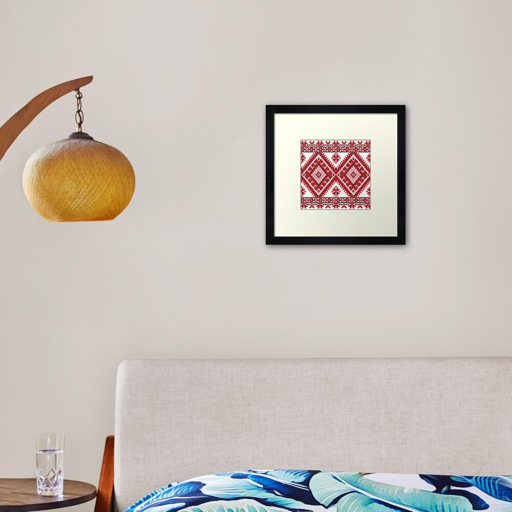 Ukraine Pattern - Ukrainian embroidery: вишивка, vyshyvka, #Ukraine #Pattern #Ukrainian #embroidery #вишивка #vyshyvka UkrainePattern #UkrainianEmbroidery #Украина Framed Art Print