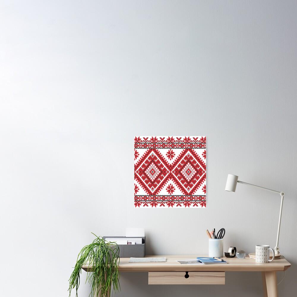 Ukraine Pattern - Ukrainian embroidery: вишивка, vyshyvka, #Ukraine #Pattern #Ukrainian #embroidery #вишивка #vyshyvka UkrainePattern #UkrainianEmbroidery #Украина Poster