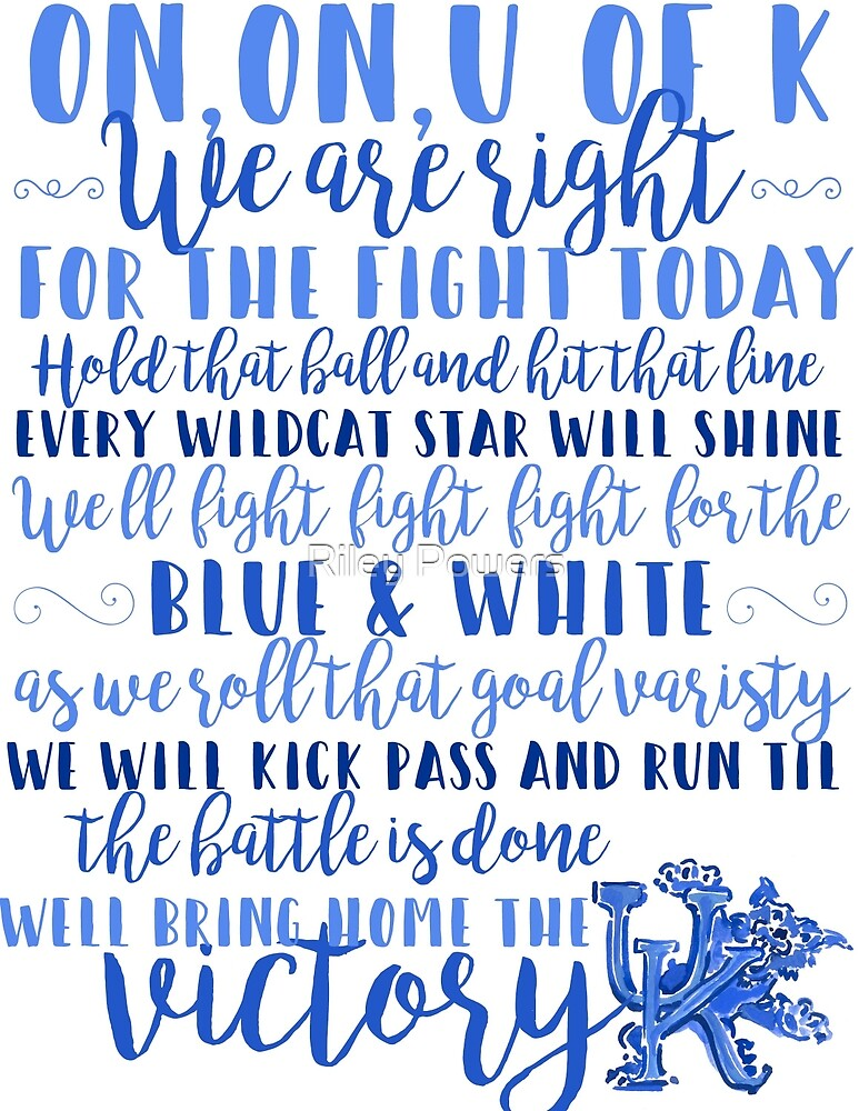 Lyric blue song lyrics : UK Fight Song Lyrics Print