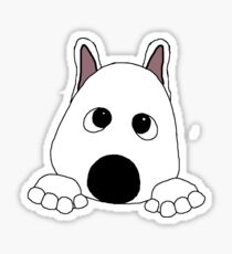 akita white peeking cartoon Sticker