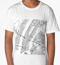 Manhattan - New York City - United States - Minimalist Design Map Long T-Shirt