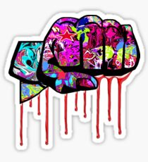 Graffiti covered fist Sticker