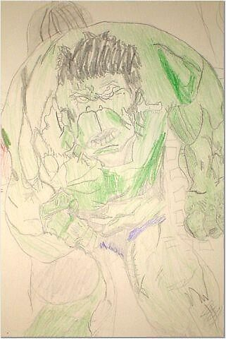 My 6 year old son's Hulk picture he drew. by andersonll2002