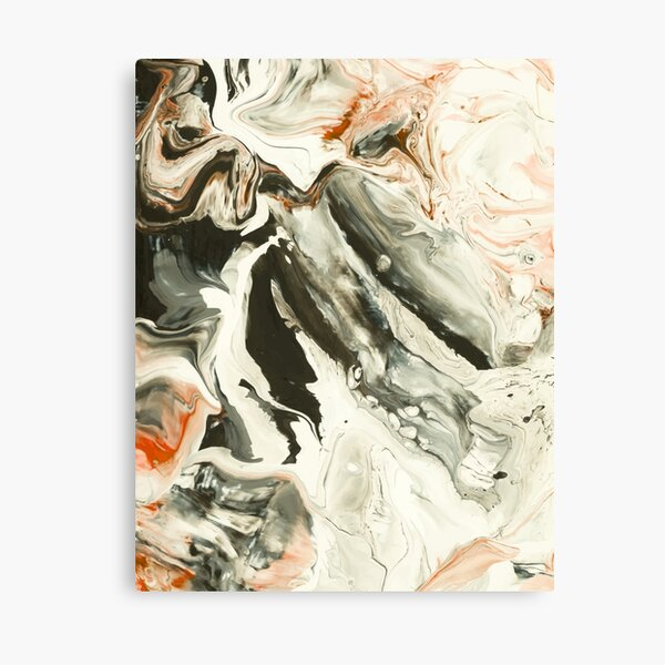 Abstract Red Grey Marble Painting Canvas Print